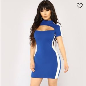 Mind Tricks Colorblock Dress - Royal/White